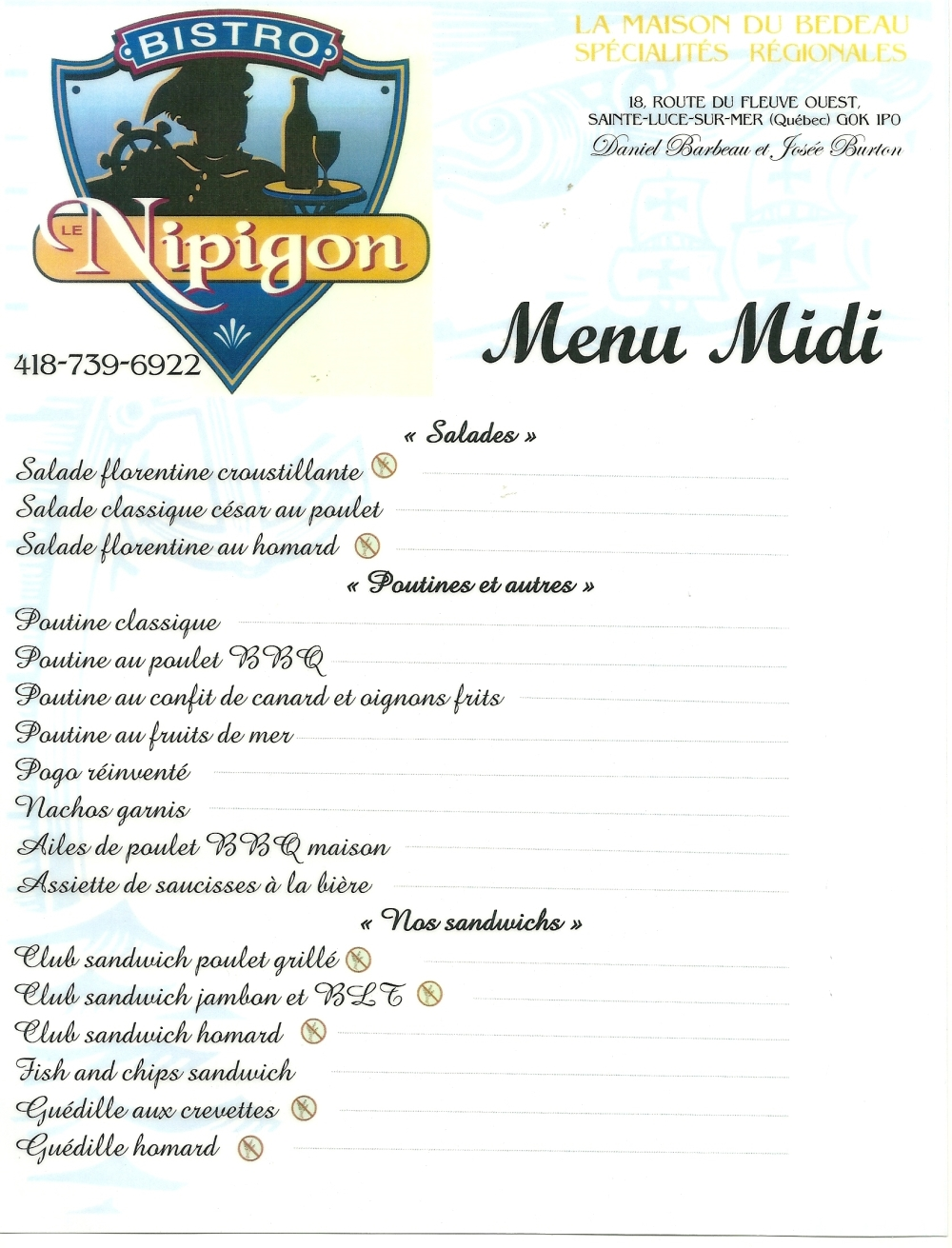 midi - salades + poutines + sandwichs